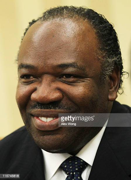 President Ali Bongo Ondimba of Gabon sits during a meeting with US President Barack Obama in the Oval Office of the White House June 9 2011 in...