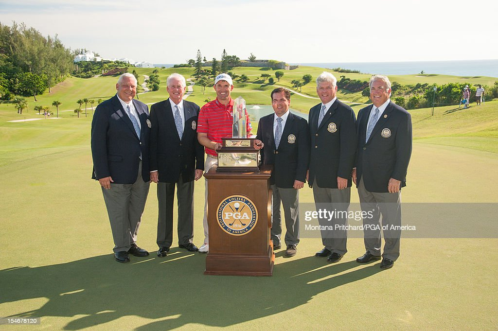 PGA President Allen Wronowski, Vice President Ted Bishop, Padraig Harrington, Secretary Derek Sprague, Honorary President Jim Remy, and CEO Joe Steranka pose during the Award Ceremony at The Port Royal Golf Club for the 30th Grand Slam of Golf on October 24, 2012 in Southampton, Bermuda.