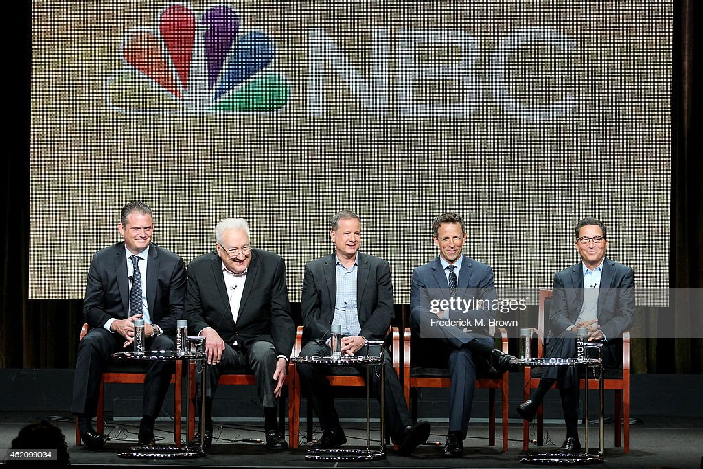 President, Alternative and Late Night Programming, NBC Entertainment Paul Telegdy, executive producer Don Mischer, Emmy's writer and producer of 'Late Night With Seth Meyers' Mike Shoemaker, Emmy host Seth Meyers and Chairman/CEO, Television Academy, Bruce Rosenblum speak onstage at the 'The 66th Primetime Emmy Awards' panel during the NBCUniversal portion of the 2014 Summer Television Critics Association at The Beverly Hilton Hotel on July 13, 2014 in Beverly Hills, California.