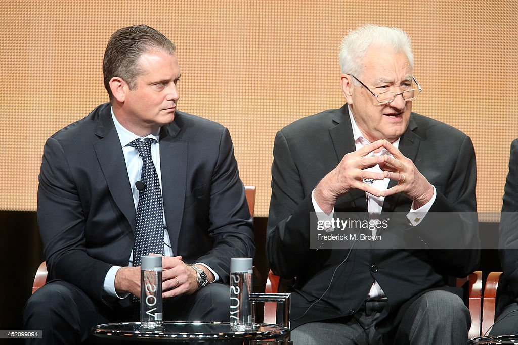 President, Alternative and Late Night Programming, NBC Entertainment Paul Telegdy and executive producer Don Mischer speak onstage at the 'The 66th Primetime Emmy Awards' panel during the NBCUniversal portion of the 2014 Summer Television Critics Association at The Beverly Hilton Hotel on July 13, 2014 in Beverly Hills, California.