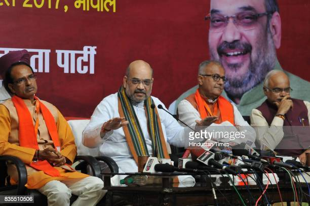 President Amit Shah addresses a press conference on August 19 2017 in Bhopal India Shah announced that the 2018 assembly polls in Madhya Pradesh will...