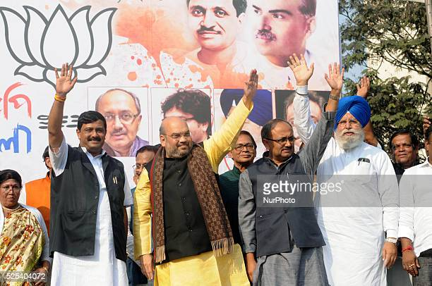 BJP President Amit Shah along with BJP's West Bengal observer Siddartha Nath Singh and Rahul sinha State President of BJP During the Bharatiya Janta...
