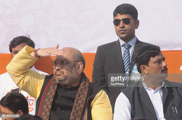 BJP President Amit Shah along with Rahul sinha State President of BJP During the Bharatiya Janta Party political rally in KolkataIndia
