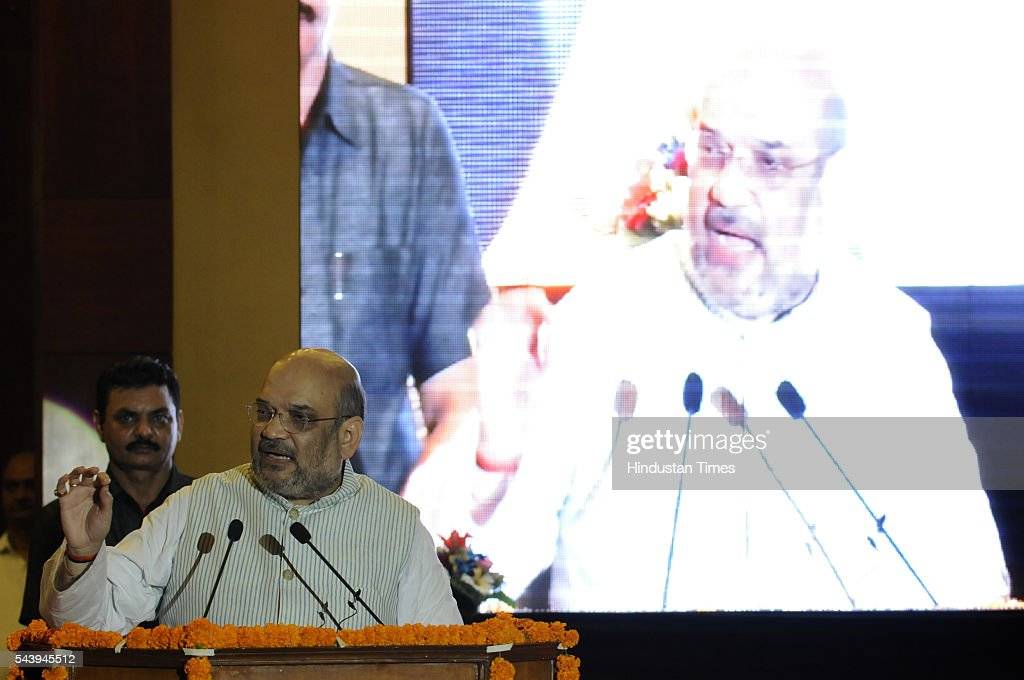 BJP president Amit Shah attended conference of intellectuals at JIIT, on June 30, 2016 in Noida, India. With Uttar Pradesh assembly election early next year, BJP Chief Brain stormed with intellectuals about the achievements of two years of Modi government and keys issues of UP.