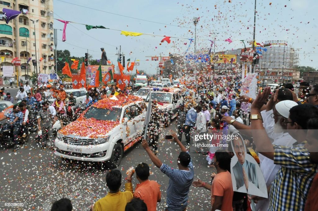 BJP President Amit Shah being welcomed during his arrival for the three-day visit on August 18, 2017 in Bhopal, India.