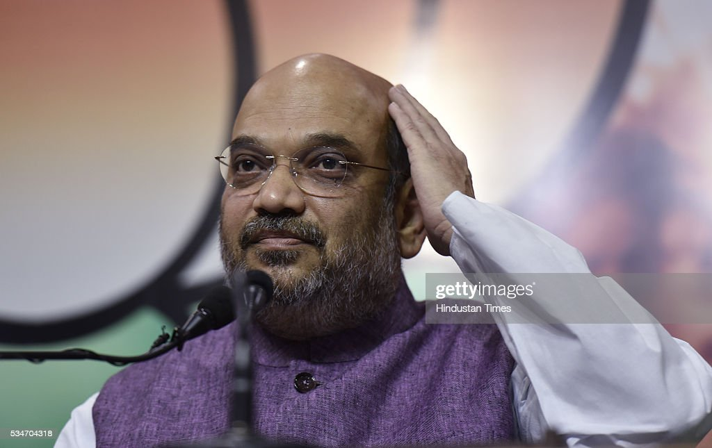 BJP President Amit Shah during a press conference on completion of two years of the Modi government, at party headquarters on May 27, 2016 in New Delhi, India. Presenting a report card of the two years of the Modi government, BJP chief Amit Shah credited the party with giving a decisive government.