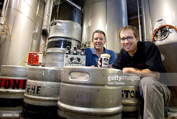 President and brewmaster Steve Wagner left with CEO Greg Koch right hold some pale ale in the brewhouse of Stone Brewing Company which they...