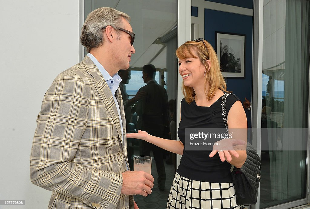 President and CEO at Chopard U.S. Marc Hruschka and W Magazine Vice President and Publisher Lucy Kriz attend the Chopard and W Magazine 'Marilyn Forever' exhibition at Soho Beach House on December 6, 2012 during Art Basel Miami in Miami Beach, Florida.
