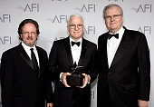 AFI President and CEO Bob Gazzale Honoree Steve Martin and AFI Board of Trustees Chair Sir Howard Stringer pose backstage during the 43rd AFI Life...