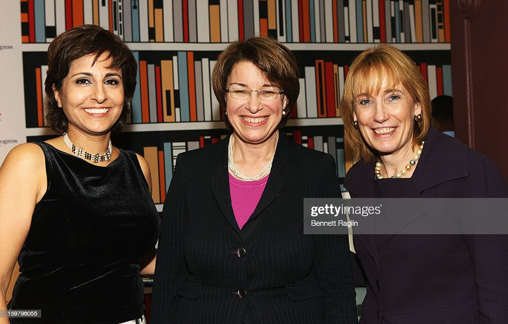 President and CEO, Center for American Progress, Co-Host of Brunch Neera Tanden, Senator Amy Klobuchar (D-MN) and Governor of New Hampshire Margaret Wood Hassan attend a celebration for leading women in Washington hosted by GOOGLE, ELLE, and The Center for American Progress on January 20, 2013 in Washington, United States.