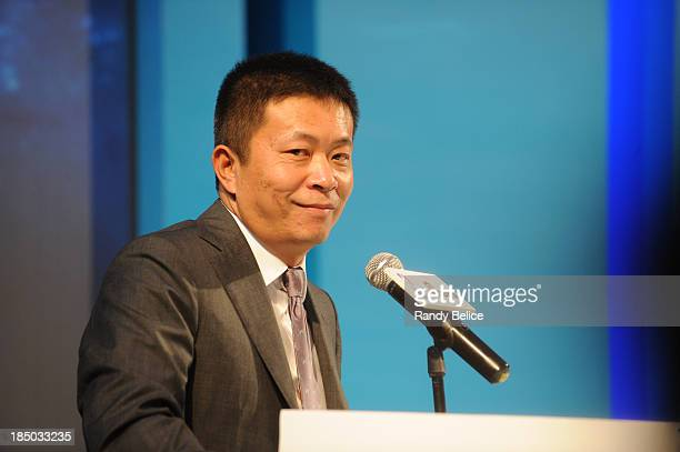 President and CEO Charles Chao addresses the media during the Sina press conference announcing their expanded partnership as part of the 103 Global...