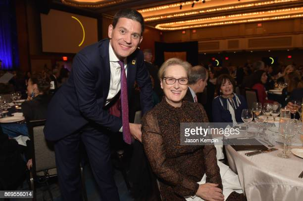 President and CEO David Miliband and Actress Meryl Streep attend The 2017 Rescue Dinner hosted by IRC at New York Hilton Midtown on November 2 2017...