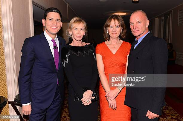 IRC President and CEO David Miliband Trudie Styler Louise Shackelton and Sting attend the Annual Freedom Award Benefit Event hosted by International...
