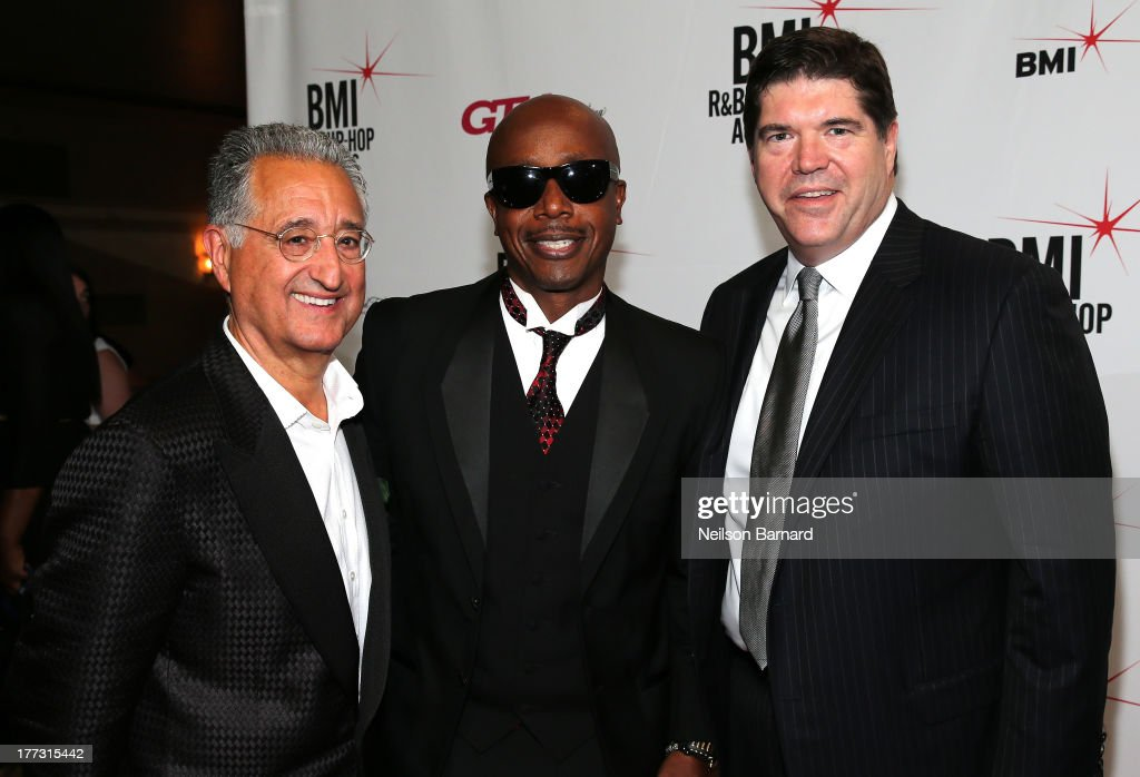 BMI President and CEO, <a gi-track='captionPersonalityLinkClicked' href=/galleries/search?phrase=Del+Bryant&family=editorial&specificpeople=239201 ng-click='$event.stopPropagation()'>Del Bryant</a> and <a gi-track='captionPersonalityLinkClicked' href=/galleries/search?phrase=MC+Hammer&family=editorial&specificpeople=225081 ng-click='$event.stopPropagation()'>MC Hammer</a> attend 2013 BMI R&B/Hip-Hop Awards at Hammerstein Ballroom on August 22, 2013 in New York City.