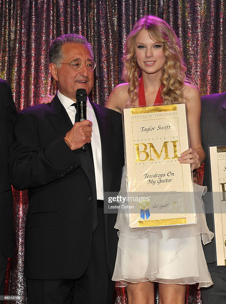 President and CEO Del Bryant and Musician Taylor Swift attend BMI's 57th Annual Pop Awards held at The Beverly Wilshire Hotel on May 19 2009 in...