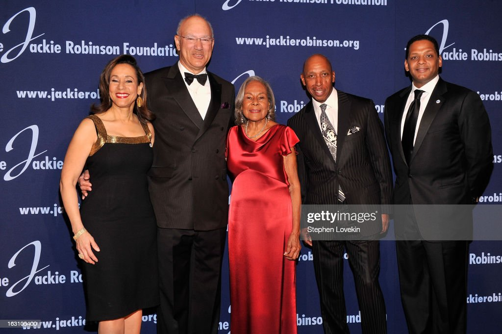 President and CEO Della Britton Baeza, Co-Chair of the Board of Directors Leornard C. Coleman Jr., Founder Rachel Robinson, recording artist Jeffrey Osborne and Co-Chair of the Board of Directors Gregg Gonsalves attend the The Jackie Robinson Foundation Annual Awards' Dinner at the Waldorf Astoria Hotel on March 4, 2013 in New York City.