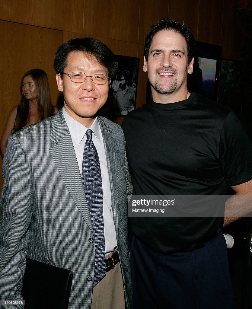 President and CEO DJ Oh and entrepreneur Mark Cuban attend the Samsung Independent Platform Press Conference of 'Into the Wild' at the Directors...