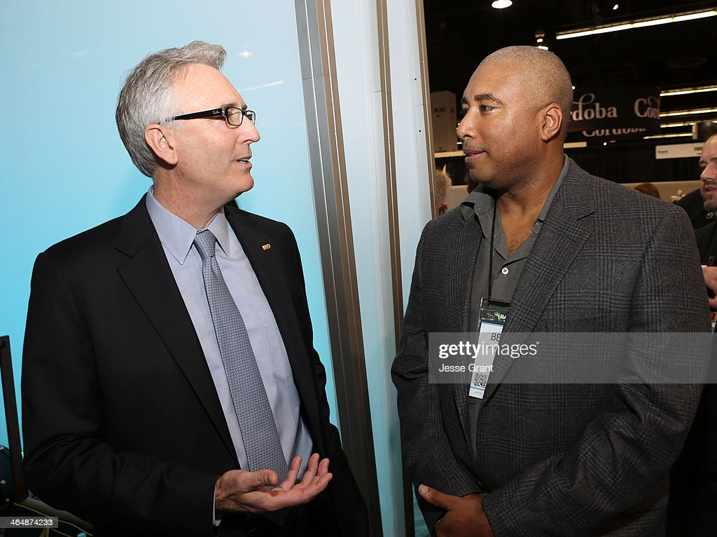 President and CEO Joe Lamond and baseball player <a gi-track='captionPersonalityLinkClicked' href=/galleries/search?phrase=Bernie+Williams&family=editorial&specificpeople=175814 ng-click='$event.stopPropagation()'>Bernie Williams</a> attend the 2014 National Association of Music Merchants show media preview day at the Anaheim Convention Center on January 22, 2014 in Anaheim, California.