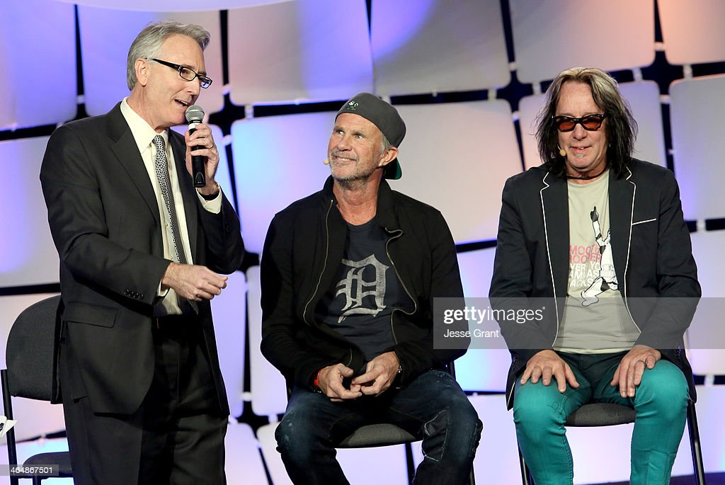 President and CEO Joe Lamond, Drummer <a gi-track='captionPersonalityLinkClicked' href=/galleries/search?phrase=Chad+Smith+-+Drummer&family=editorial&specificpeople=12809050 ng-click='$event.stopPropagation()'>Chad Smith</a> and recording artist <a gi-track='captionPersonalityLinkClicked' href=/galleries/search?phrase=Todd+Rundgren&family=editorial&specificpeople=669124 ng-click='$event.stopPropagation()'>Todd Rundgren</a> attend the 2014 National Association of Music Merchants show at the Anaheim Convention Center on January 24, 2014 in Anaheim, California.