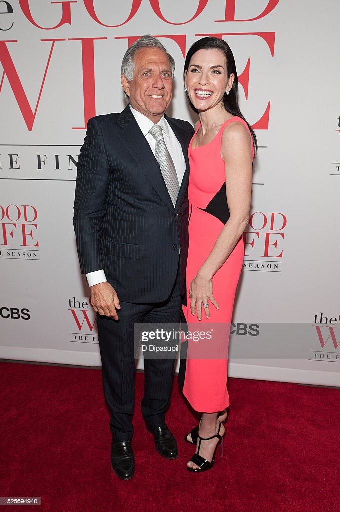 CBS president and CEO Leslie Moonves and Julianna Margulies attend 'The Good Wife' Finale Party at the Museum of Modern Art on April 28 2016 in New...
