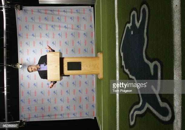 President and CEO Matt Millen of the Detroit Lions speaks to the media during a press conference announcing head coach Steve Mariucci was let go and...