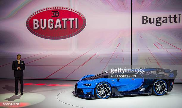President and CEO of Bugatti and Bentley Wolfgang Duerheimer presents the Bugatti Vision Gran Turismo at the Volkswagen Group Night at the Fraport...