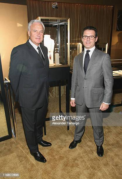 President and CEO of Cartier International Bernard Fornas and Director of heritage Pierre Rainero attend a private dinner in honor of Anri Sala at...