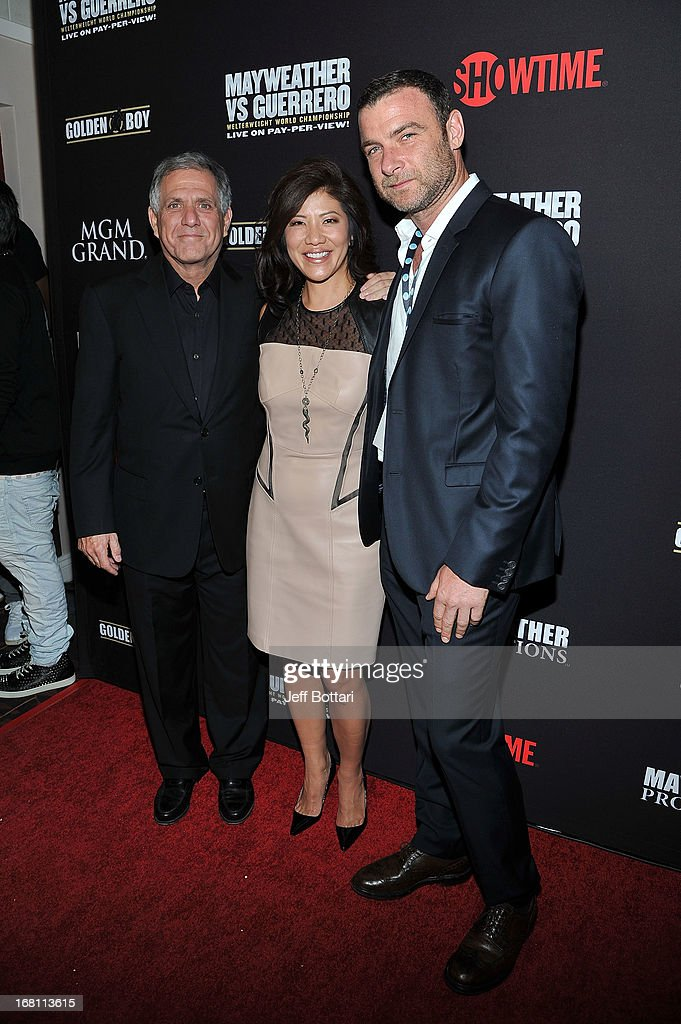 President and CEO of CBS Corporation <a gi-track='captionPersonalityLinkClicked' href=/galleries/search?phrase=Les+Moonves&family=editorial&specificpeople=210763 ng-click='$event.stopPropagation()'>Les Moonves</a>, TV personality <a gi-track='captionPersonalityLinkClicked' href=/galleries/search?phrase=Julie+Chen&family=editorial&specificpeople=206213 ng-click='$event.stopPropagation()'>Julie Chen</a> and actor Liev Shreiber arrive at a VIP pre-fight party at the WBC welterweight title fight between Floyd Mayweather Jr. and Robert Guerrero at the MGM Grand Hotel/Casino on May 4, 2013 in Las Vegas, Nevada.