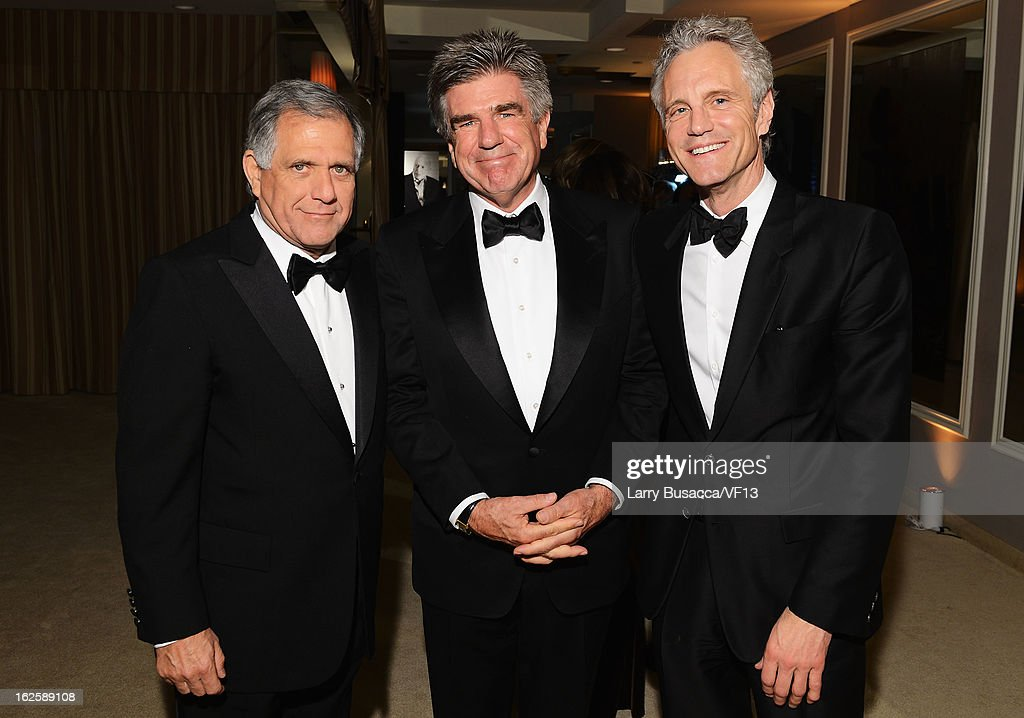 President and CEO of CBS Leslie Moonves, tv executives <a gi-track='captionPersonalityLinkClicked' href=/galleries/search?phrase=Tom+Freston&family=editorial&specificpeople=215272 ng-click='$event.stopPropagation()'>Tom Freston</a>, and President, Clear Channel Ent. <a gi-track='captionPersonalityLinkClicked' href=/galleries/search?phrase=John+Sykes+-+American+Businessman&family=editorial&specificpeople=211436 ng-click='$event.stopPropagation()'>John Sykes</a> attend the 2013 Vanity Fair Oscar Party hosted by Graydon Carter at Sunset Tower on February 24, 2013 in West Hollywood, California.