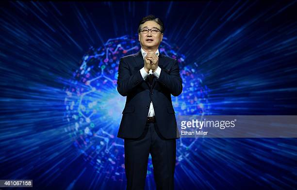 President and CEO of Consumer Electronics at Samsung Electronics BooKeun Yoon delivers a keynote address at the 2015 International CES at The...