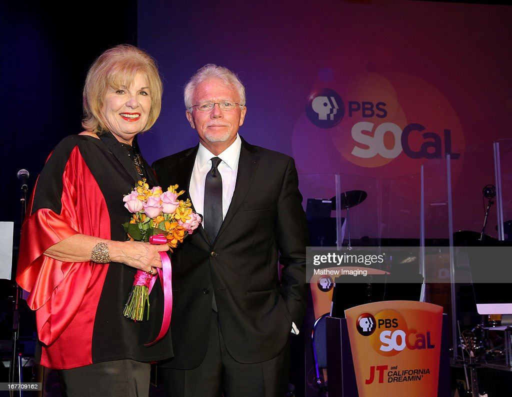 President and CEO of Corporation for Public Broadcasting, Patricia S. Harrison and President and CEO of PBS SoCaL, Mel Rogers (R) attend the PBS SoCaL Presents the 2012 Masterpiece Ball on May 5, 2012 at the Atlantic Aviation Hanger in Santa Ana, California.