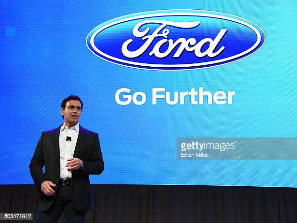 President and CEO of Ford Motor Co Mark Fields arrives at a press event for CES 2016 at the Mandalay Bay Convention Center on January 5 2016 in Las...