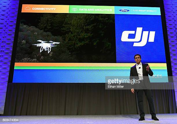 President and CEO of Ford Motor Co Mark Fields speaks during a press event for CES 2016 at the Mandalay Bay Convention Center on January 5 2016 in...