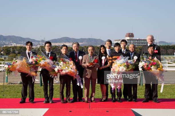 President and CEO of Japan Racing Association Masayuki Goto jockey Yutaka Take owner Saburo Kitajima trainer Hisashi Shimizu at the presentation...