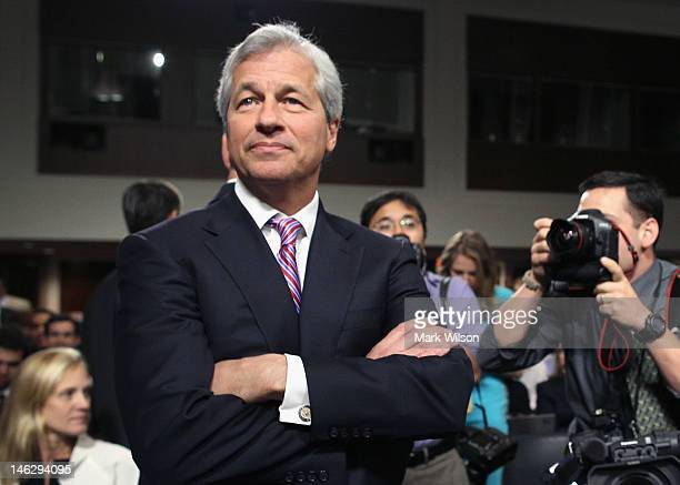 President and CEO of JPMorgan Chase Co Jamie Dimon arrives to testify before a Senate Banking Committee hearing on Capitol Hill June 13 2012 in...