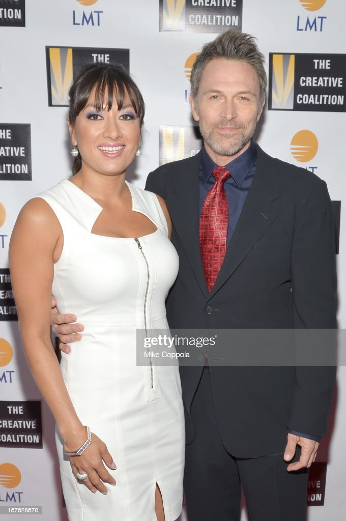 President and CEO of Lanmark Technology inc. Lani Hay (L) and actor Tim Daly attend the Celebrating The Arts In American Dinner Party With Distinguished Women In Media Presented By Landmark Technology Inc. And The Creative Coalition at Neyla on April 26, 2013 in Washington, DC.