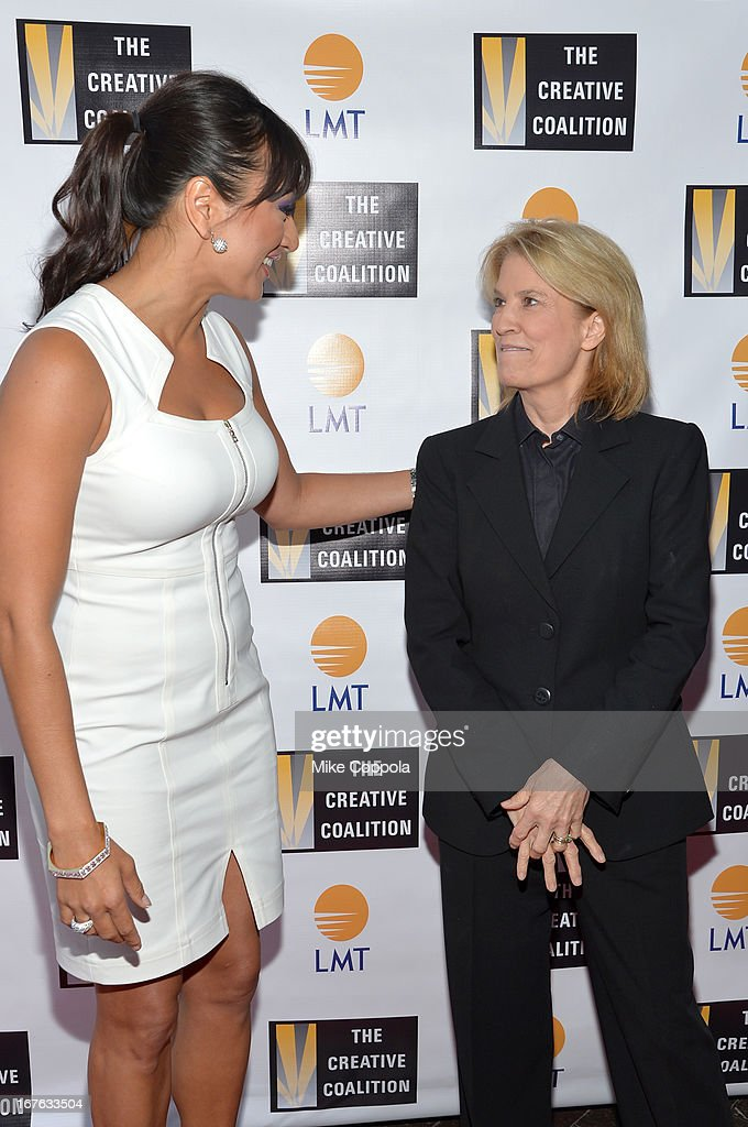 President and CEO of Lanmark Technology inc. Lani Hay (L) and Fox News Channel host Greta Van Susteren attend the Celebrating The Arts In American Dinner Party With Distinguished Women In Media Presented By Landmark Technology Inc. And The Creative Coalition at Neyla on April 26, 2013 in Washington, DC.