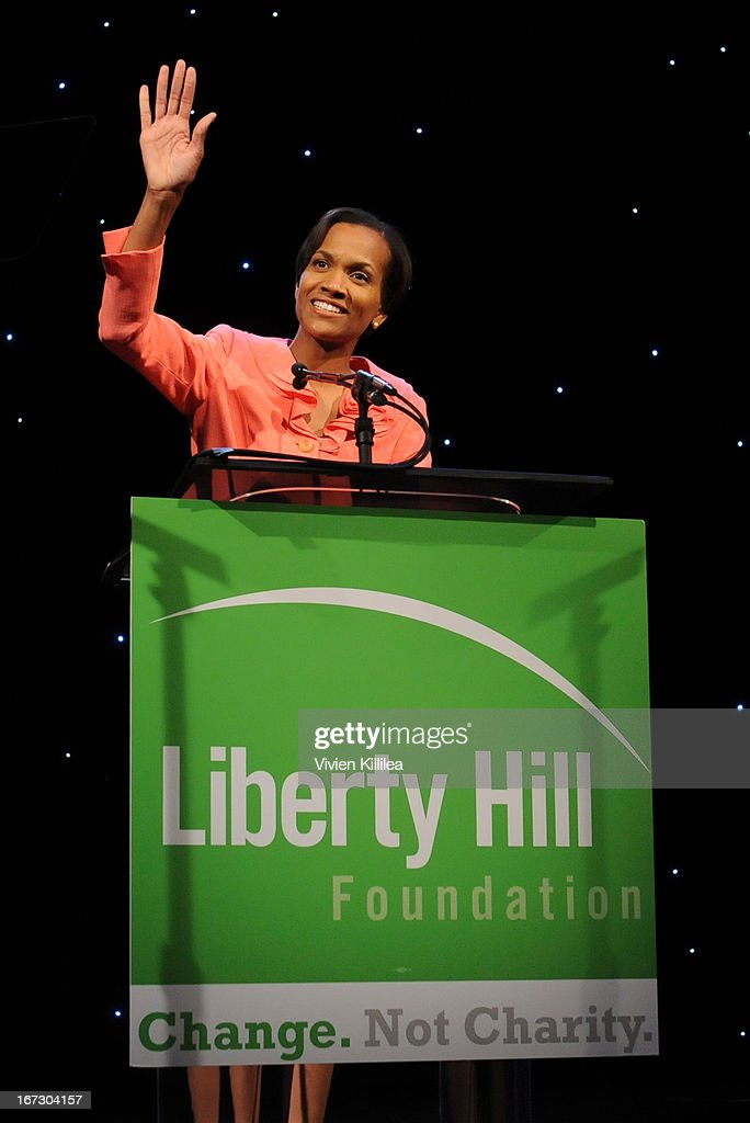 President and CEO of Liberty Hill Foundation Kafi Blumenfield speaks at the Founders Award during Liberty Hill's Upton Sinclair Awards Dinner Honors - Show at The Beverly Hilton Hotel on April 23, 2013 in Beverly Hills, California.