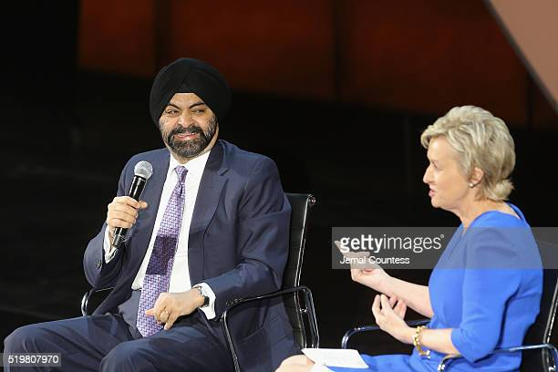 President and CEO of MasterCard Ajay Banga and journalist Tina Brown speak onstage at Ajay Banga The Right to Identity during Tina Brown's 7th Annual...