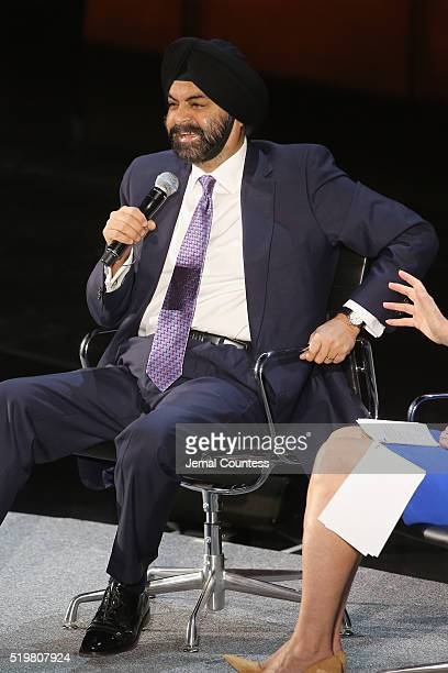 President and CEO of MasterCard Ajay Banga speaks onstage at Ajay Banga The Right to Identity during Tina Brown's 7th Annual Women in the World...