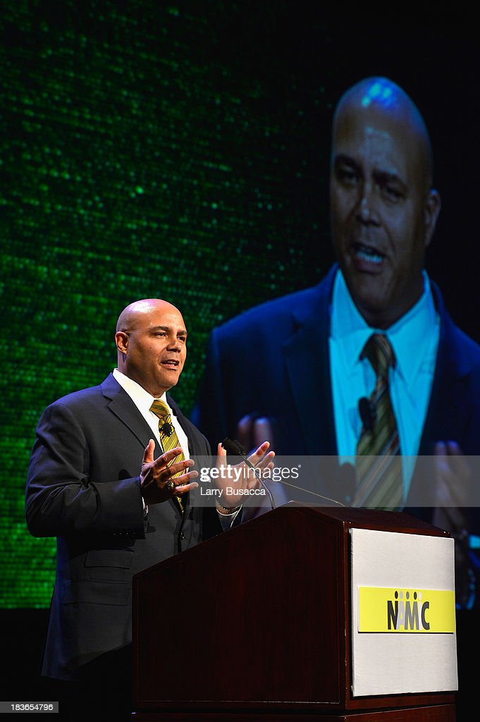 President and CEO of National Cable & Telecommunicatons Association Michael Powell speaks onstage at the 2013 WICT Leadership Conference at the New York Marriott on October 8, 2013 in New York City.
