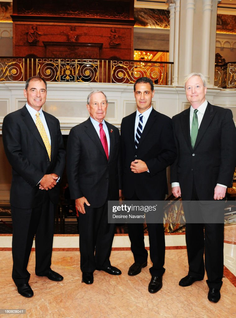 President and CEO of Northwood Investors John Kukral, New York City Mayor Michael Bloomberg, The New York Palace General Manager David Chase, and President of Northwood Hospitality David McCaslin attend The New York Palace's unveiling celebration at The New York Palace Hotel on September 17, 2013 in New York City.