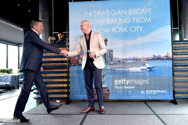 President and CEO of Norwegian Cruise Line Andy Stuart and Godfather Pitbull attend Norwegian Escape heads to NYC event at PHD at the Dream Downtown...