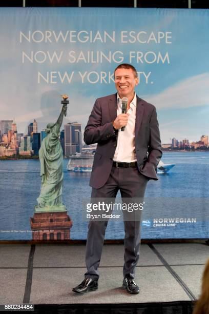 President and CEO of Norwegian Cruise Line Andy Stuart attends Norwegian Escape heads to NYC event with Godfather Pitbull at PHD at the Dream...