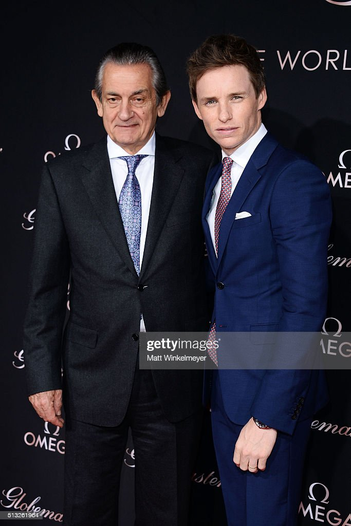President and CEO of OMEGA Stephen Urquhart and actor Eddie Redmayne attend the OMEGA celebrates the launch of the Master Chronometer Globemaster at...