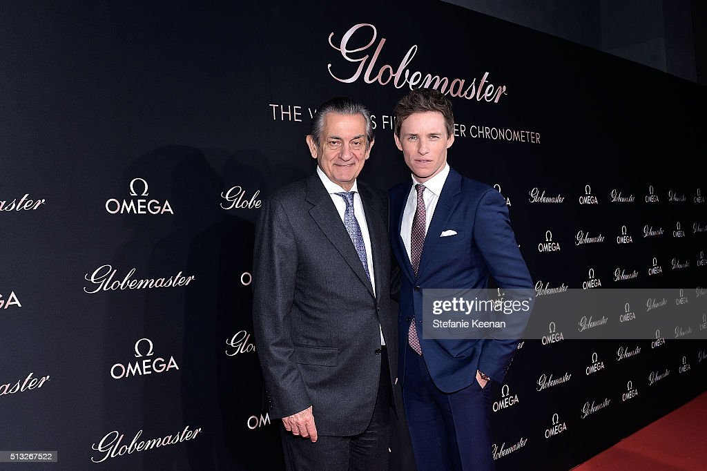 President and CEO of OMEGA Stephen Urquhart and brand ambassador Eddie Redmayne attend the launch of the Globemaster the worlds first master...