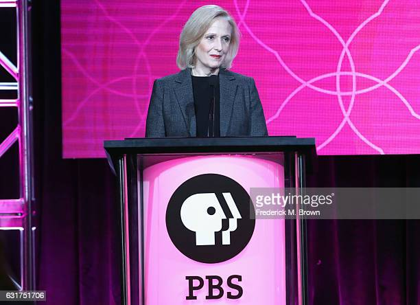 President and CEO of PBS Paula Kerger speaks onstage during the PBS portion of the 2017 Winter Television Critics Association Press Tour at Langham...