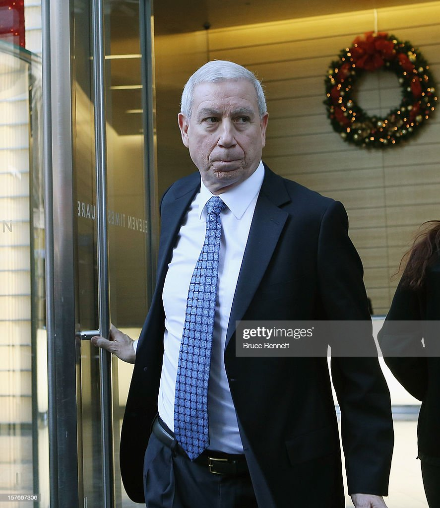 President and CEO of the Chicago Blackhawks John F. McDonough leaves the leagues legal offices following the National Hockey League Board of Governors meeting on December 5, 2012 in New York City.