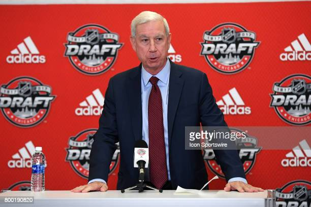 President and CEO of the Chicago Blackhawks John McDonough talks with the media prior to the first round of the 2017 NHL Draft on June 23 at the...