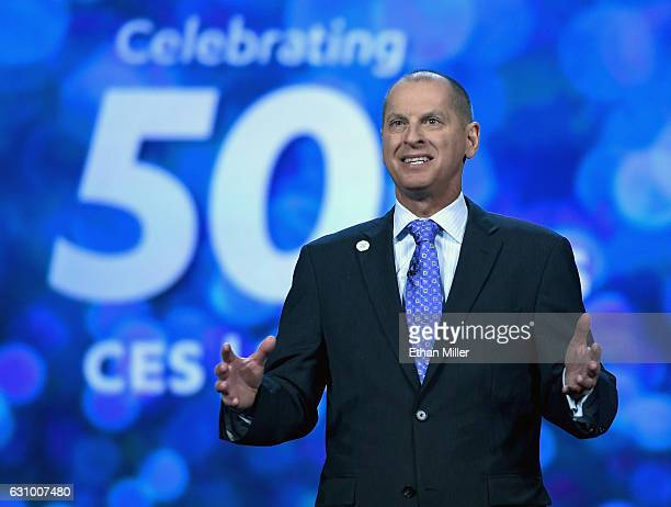 President and CEO of the Consumer Technology Association Gary Shapiro speaks before a keynote address by Nvidia Founder President and CEO JenHsun...